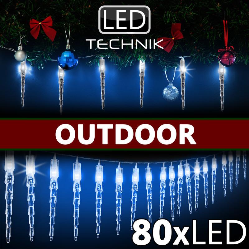Stecker Für Weihnachtsbeleuchtung.Monzana 80 Led Lichterkette Eiszapfen I Blau I Für Innen Außen I Länge 14m I Stecker Weihnachtsdekoration Weihnachtsbeleuchtung Weihnachten