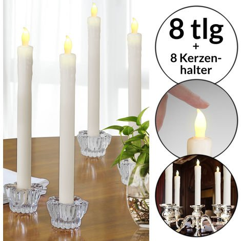 Monzana 8x LED Dinner Candles incl. Candle Holders Glass Flickering Warm White