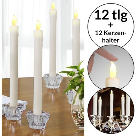 Monzana 8x LED Dinner Candles with Candleholders Glass Flickering Warm White