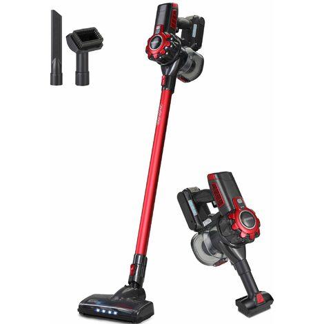 Monzana Aspirador escoba sin cable aspiradora vertical con accesorios limpieza interior suelo alfombras cepillos luz LED