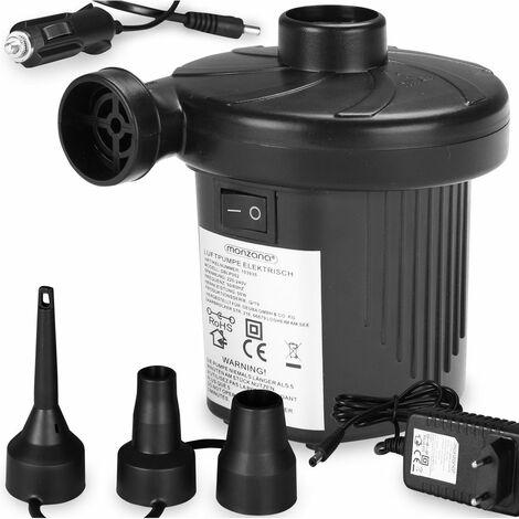 Monzana Bomba de aire eléctrica Color negro Con transformador 230 V enchufe de red Cable de conexión 12 V Set de 3 adaptadores diferentes