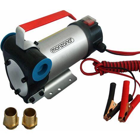 Monzana Bomba para vaciar Aceite Gasóleo fuel oil de Metal 40 L/ min 12V 160W con accesorios - Conexiones de latón