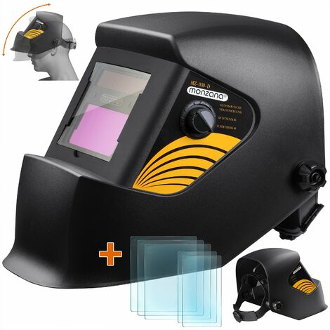 Monzana Casco de soldadura automático de oscurecimiento Gran Ventana temperatura de trabajo -10 hasta 65° Careta para soldar