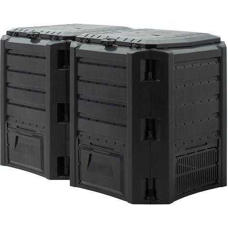 Monzana Compostador resistente a la intemperie de 380L / 800l / 1200L / 1600L Negro - Humus Desechos de jardín