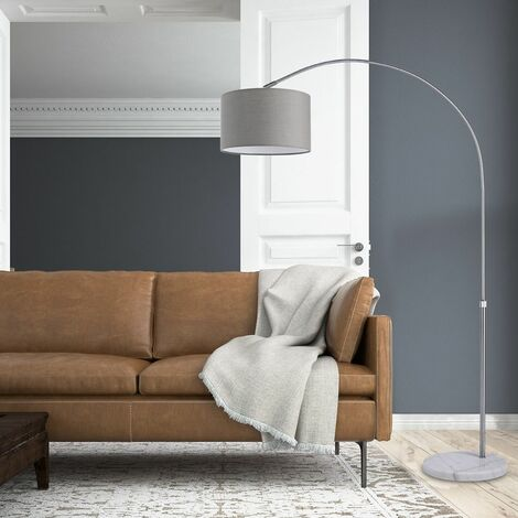 monzana Design Bogenlampe Höhe 133-180cm Stoffschirm Ø25cm Marmorfuß Fußschalter Stehlampe Stehleuchte Bogenleuchte