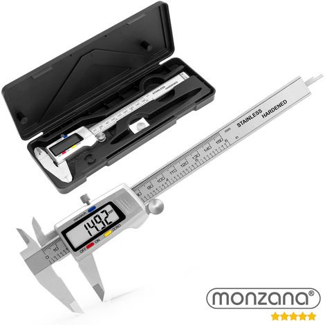 Monzana digitaler Messschieber gehärteter Stahl inkl. Hardcase 2x Batterie LCD-Display Millimeter / Inch / Zoll Messbereich 0-150mm Profimessgerät Schieblehre