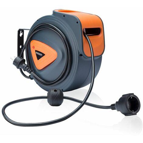 Monzana Enrollador autómatico de cables de 15 o 20 m con soporte de pared oscilante a 180° enrollador de aire comprimido