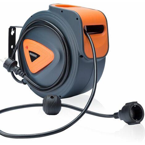 Monzana Enrouleur automatique de câble 15, 20 m boîtier plastique cordon 1,5m pivotable support de fixation mural rallonge électrique bricolage tambour de câble