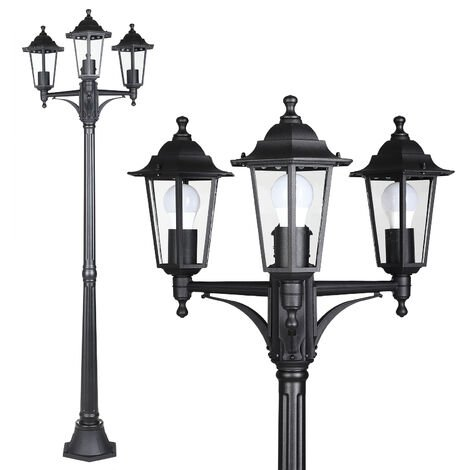 Monzana Farolas de jardín exterior Aluminio vidrio 60W Antracita lámpara rústica pedestal sendero patio terraza a escoger