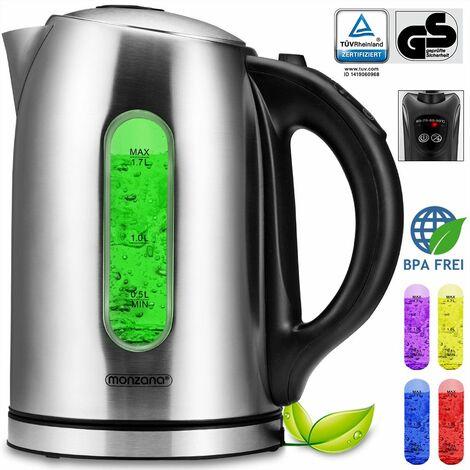 Monzana Hervidor de agua de acero inoxidable 1,7 L con iluminación LED libre de BPA ajuste de temperatura 2200W tetera