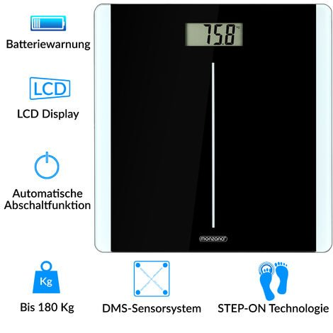 Monzana High Precision Digital Body Weighing Bathroom Weight Scale Step-On Technology LCD Display 28st/180kg/400lb
