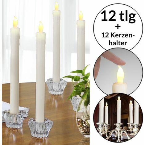 Monzana Juego de 12 velas LED candelas con candelabros de cristal set de luces iluminación interior eventos fiestas