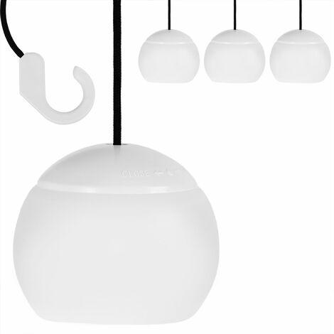 Monzana Juego de 4 lámparas colgantes con ganchos set de luces LED iluminación interior y exterior para camping fiestas