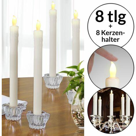 Monzana Juego de 8 candelas de cera real con candelabros de cristal con luces LED decoración iluminada fiestas eventos