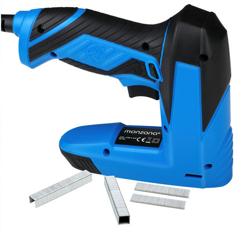 Monzana® Kombi Elektrotacker Elektronagler inkl. 400 Klammern + inkl. 100 Nägel Sicherheitsschalter 20 Schüsse pro Minute Anti-Stau-Mechanismus Elektro Tacker Nagler