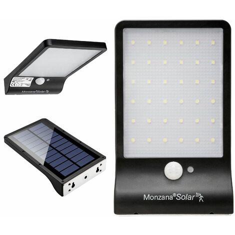 Monzana Lámpara LED Solar de Acero inoxidable para jardín pared con sensor de movimiento iluminación de caminos