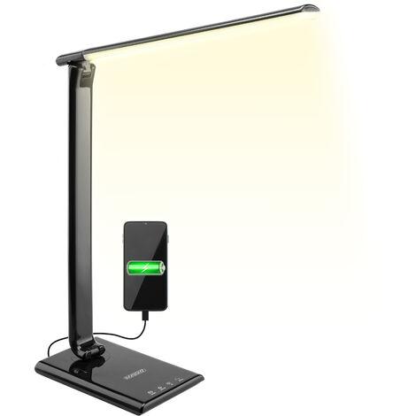Monzana Lampe de bureau LED avec port de charge USB 7 niveaux 12 W