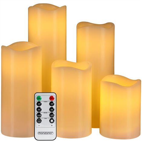 Monzana LED Candles 5x Real Wax Warm White Remote Control & Timer 10 Modes Safe Candle Smoke Free