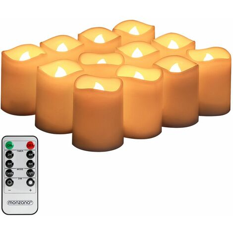 Monzana - Lot de 12 bougies LED en cire avec télécommande et piles incluses - Lumières LED vacillante / fixe - Bougie, chandelle