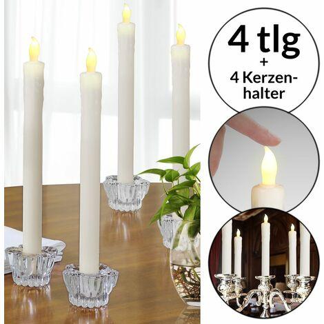 Monzana Lot de 4 Bougies LED en cire véritable Chandelle sans flamme et bougeoir en verre Bougie LED Vacillante Ø2,5cm