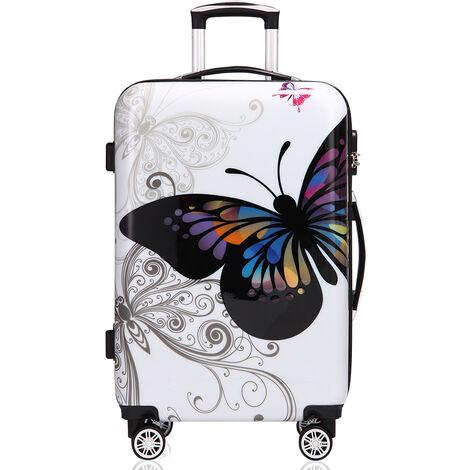 Monzana Maleta rígida Butterfly M L XL Equipaje de Viaje de 42L 66L 98L con ruedas 360° trolley 2 asas valija