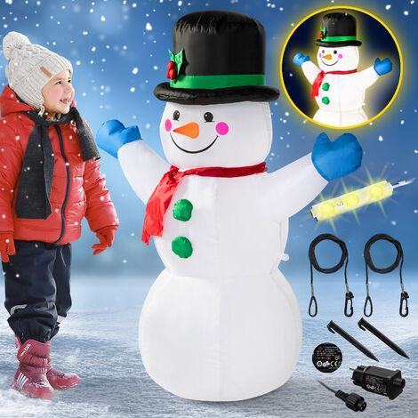 Monzana Muñeco de nieve XL hinchable adorno exterior interior inflable de 120 cm con LED decoración de navidad poliéster