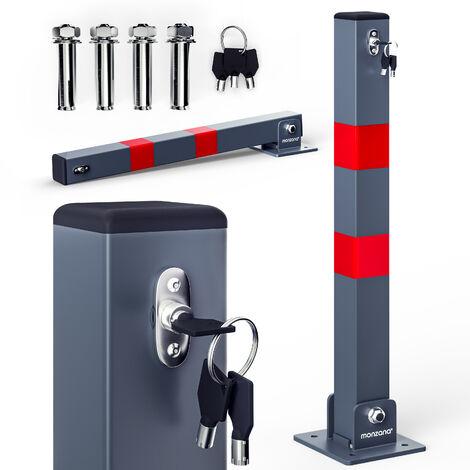 Monzana Parkpfosten Parkplatzsperre 3 Schlüssel Sperrpfosten klappbar Stahl Robust Standfuß Stabil Park Poller Set