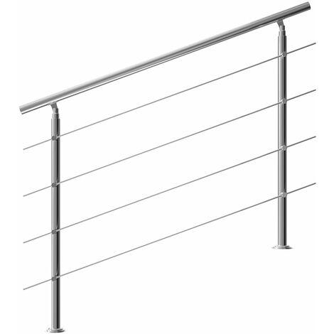 "main image of ""Monzana Pasamanos para escaleras de 80/100/120/150/160cm de acero inoxidable barandilla interior exterior baranda robusta"""
