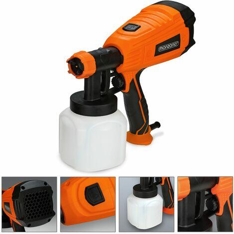 Monzana Pistola de pintura eléctrica potencia de 500W con flujo máximo de 800ml/min recipiente 800ml 3 patrones de pulverización