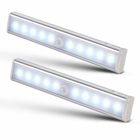 Monzana Set de 2 luces para gabinete con sensor de movimiento 10 LEDs 240 lúmenes lámpara de interior sin cable armario