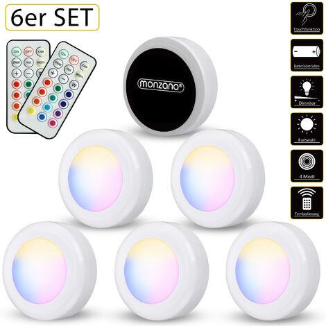 """main image of """"Monzana Set de 6 spots lámparas LED iluminación bajo muebles juego de luces para interior con pilas multicolor o blanco"""""""