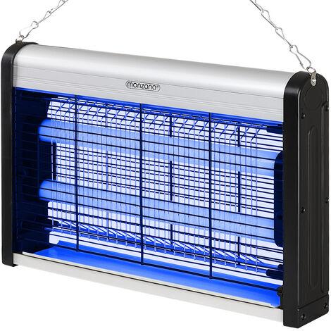 Monzana Trampa para insectos Lámpara eléctrica antimosquito mata insectos voladores LED UV 80m² incl. cadena para colgar