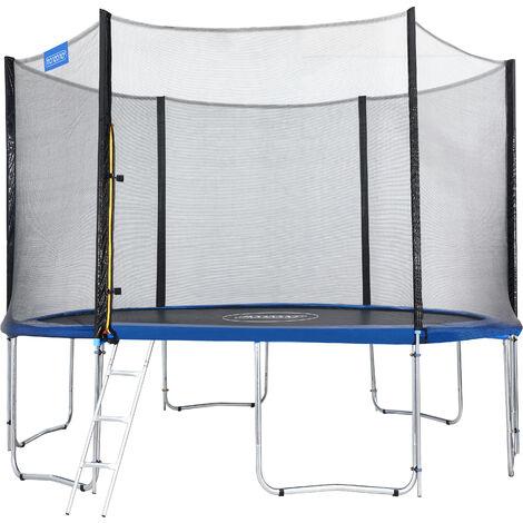 Monzana Trampolín de 427 cm cama elástica negro y azul con red de seguridad y escalera juego deporte exterior jardín