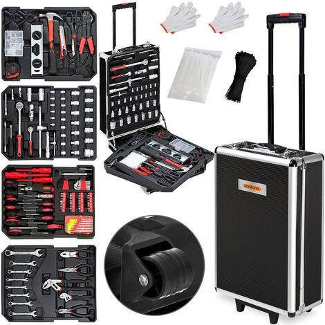 Monzana - Valise à outils roulante 899 pièces - Aluminium - poignée télescopique - Boite, malette, accessoires, nombreux outils