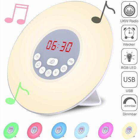 Monzana® Wake up LED Tages Lichtwecker -Sonnenauf & -untergang Simulation -Alarm mit Schlummer-Funktion -6 Wecktöne -USB Ladefunktion -Radiofunktion - Nachtlicht Tischuhr Stimmungslicht Sonnenwecker Kinder Radiowecker Tageslicht Wecker Kind