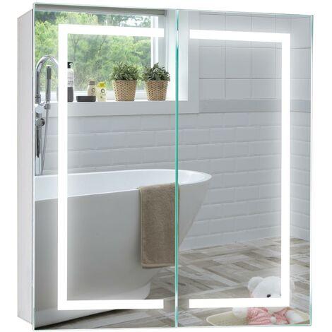 MOOD Armoire de salle de bain avec miroir lumineux LED 6500 K, certifié TÜV, coussin anti-buée sans câble, prise de courant, interrupteur à capteur, lumières LED 70 cm x 65 cm x 15 cm (H x l x P) C28 - Argent