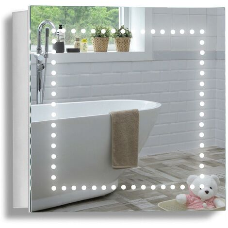 MOOD Armoire de Toilette pour Salle de Bain avec Miroir Lumineux, antibuée, Prise pour Rasoir, détecteur de Mouvement et éclairage LED 50cm(H) x 50cm(l) x 15cm(P) C18 - Argent