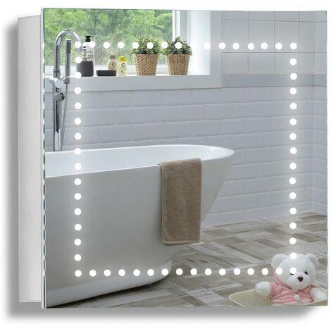 MOOD LED Bathroom Mirror Cabinet 50cm(H) x 50cm(W) x 15cm(D) C18