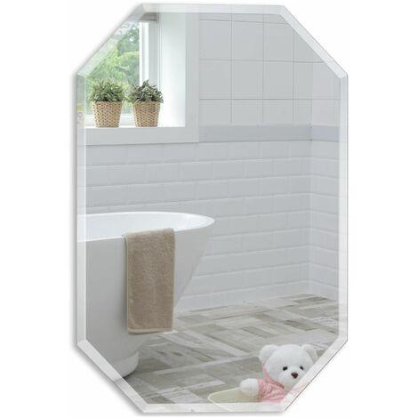 """main image of """"MOOD Magnifique miroir de salle de bain octogone, moderne et élégant, taillé en biseau, mural 70cm x 50cm - Argent"""""""