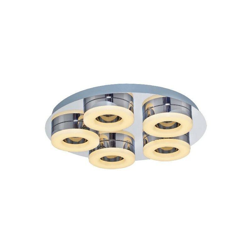 Homemania - Moon Deckenlampe - Deckenleuchte - Runde - von Wall - Chrom aus Metall, Acryl, 40 x 40 x 10 cm, 1 x Striscia LED, 6W, 3150LM, 3000K
