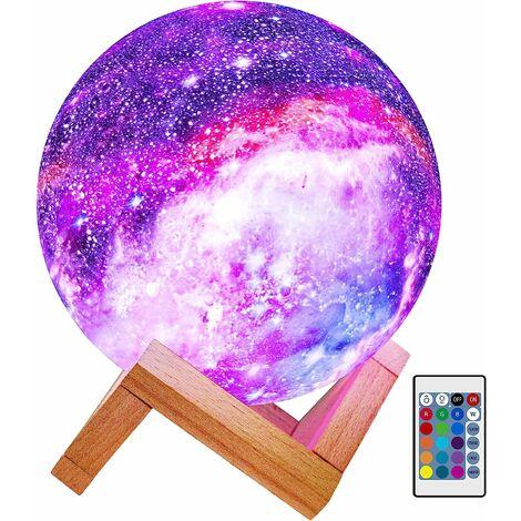 """main image of """"Moon Lamp Kids Night Light Lampe Galaxy 5,9 pouces 16 couleurs LED 3D Star Moon Light avec support en bois, télécommande tactile USB cadeau rechargeable pour bébé filles garçons anniversaire"""""""