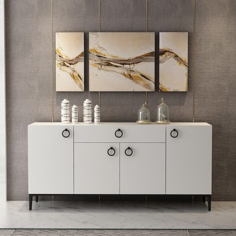 Moon Multiuse Cabinet - with Doors, Shelves, Drawer - for Living Room, Hall, Bedroom - White, made in Wood, 160 x 42 x 75 cm