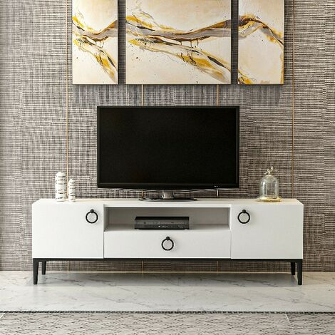 Moon TV Stand Mobile with Doors, Drawers - Living Room - White, Black Wood, Metal, 150 x 37 x 45 cm