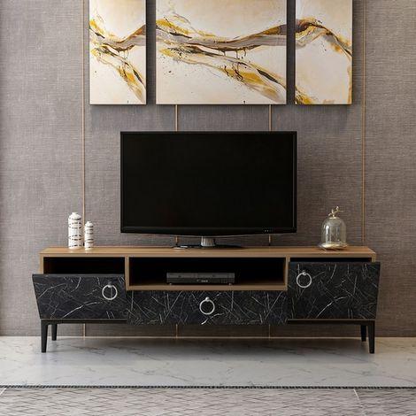 Moon Tv Stand - Modern - with Doors, Shelves, Shelves - Living Room - Black, Wood, Chrome Wood, Metal, 150 x 37 x 45 cm