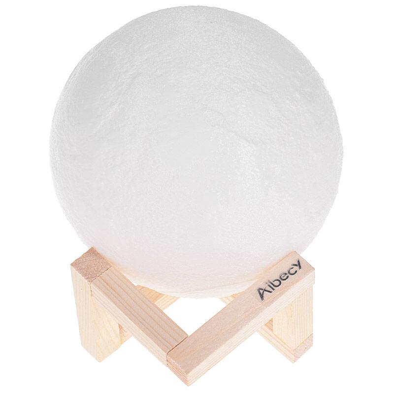 Image of Moonlight 3D printed LED night light diameter 10cm / 3.9in