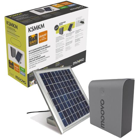 Moovo - KSMKM - Kit d'alimentation solaire pour Motorisation de portail battant ou coulissant - Noir