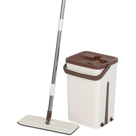 Mop Vadrouille & Seau Set Avec Pad en Microfibre & Seau à Double Chambre (sèche et humide)