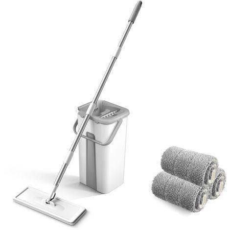 Mopa de microfibra con Squeeze cubo de la limpieza del piso mano libre fregona del piso lavable Almohadillas reutilizables polvo fregonas, 3PCS fundas de mopa