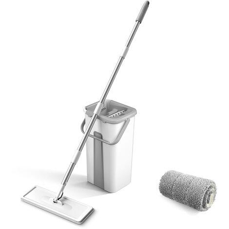 Mopa de microfibra de limpieza Compartimiento Con Sol Squeeze se puede lavar a mano limpiador gratuito Mop Lampazos Con Sol de raton reutilizable suave Repuesto Alfombra Madera dura Madera fregona del piso seco fregona, fregona de raton de 1Pc