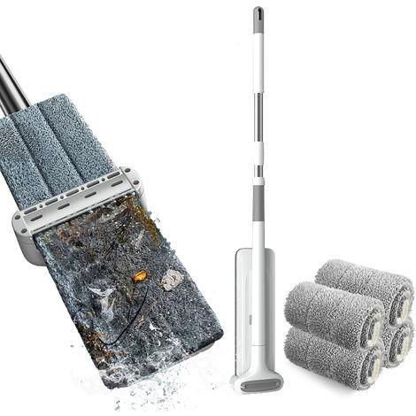 Mopa de microfibra de limpieza de suelos lavables Sistema de ratones reutilizables fregonas de polvo con un limpiador suave de recarga de raton de madera piso de madera mopa seca Wet Mop, 4pcs fundas de mopa